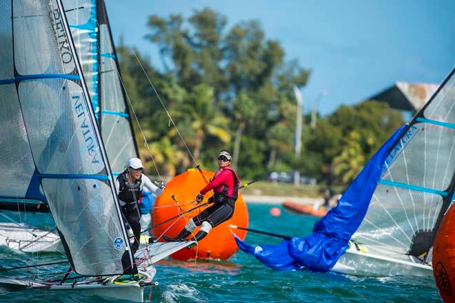 Griselda Khng and Sara TanS - ailing World Cup 2014, Miami, Medal Race 49er FX © Walter Cooper /US Sailing http://ussailing.org/