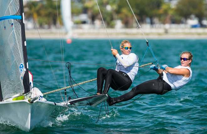 Hanna Klinga and Lisa Ericson - Sailing World Cup 2014, Miami, Medal Race © Walter Cooper /US Sailing http://ussailing.org/