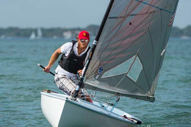 Luke Lawrence, Sailing World Cup 2014, Miami - Medal Race Finn © Walter Cooper /US Sailing http://ussailing.org/