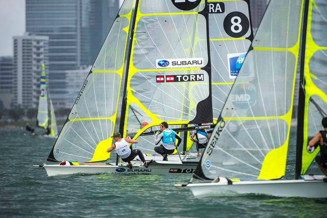 Jonas Warrer and Peter Lang in action as the 49er Fleet fights for position in light breeze - 2014 ISAF Sailing World Cup Miami day 5 © Walter Cooper /US Sailing http://ussailing.org/