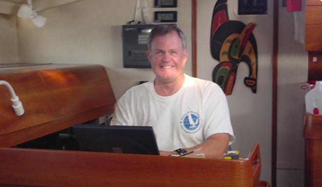 Making money at his chart table through the internet - this cruising sailor has found one method ©  SW