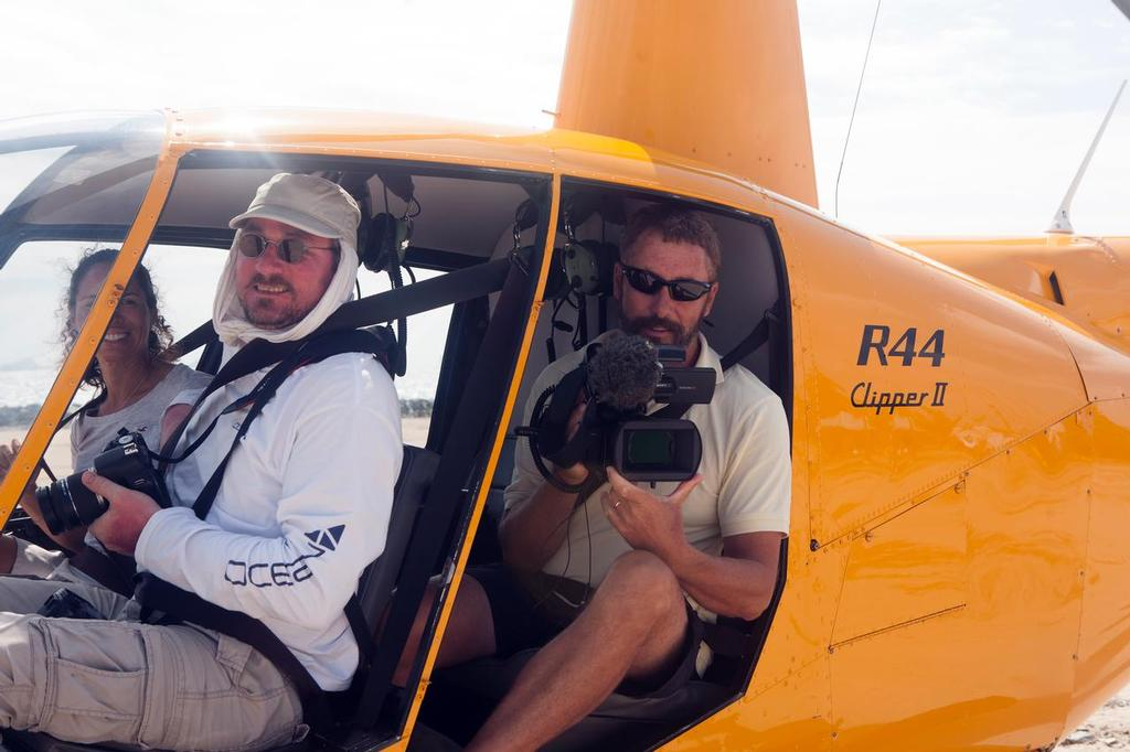 Paul Shard on a press tour doing helicopter shots to document the BVI Spring Regatta for Distant Shores © Sheryl Shard
