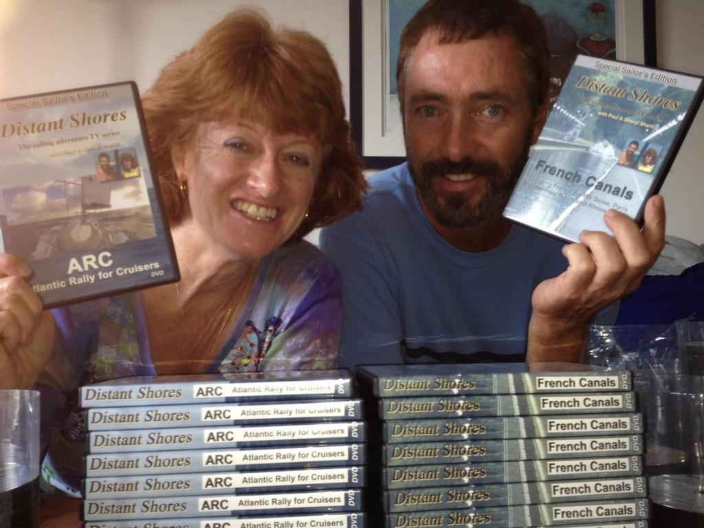 Sheryl and Paul Shard releasing their newest Distant Shores DVDs. Sales from DVDs and downloads help fund new seasons of the television series which features the world's best cruising destinations and offers tips for sailors planning or dreaming of cruising there. © Sheryl Shard