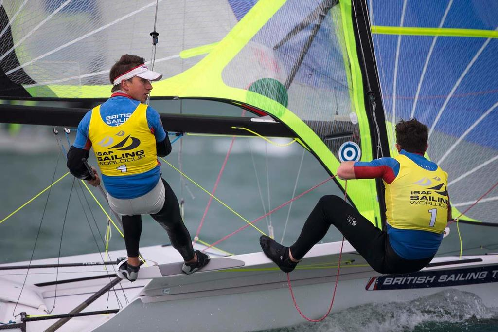 Luke Patience and Joe Glanfield, 470 - ISAF Sailing World Cup, Miami, 2014¨ © Richard Langdon /Ocean Images http://www.oceanimages.co.uk