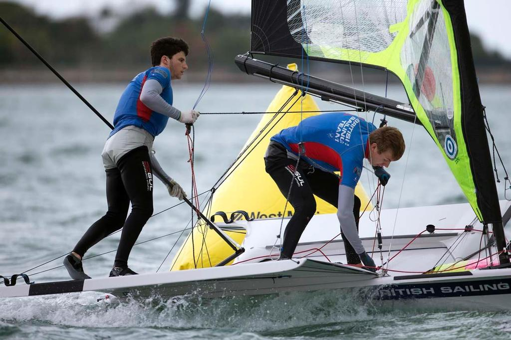 Luke Patience and Joe Glanfield, 470 - ISAF Sailing World Cup, Miami, 2014 © Richard Langdon /Ocean Images http://www.oceanimages.co.uk
