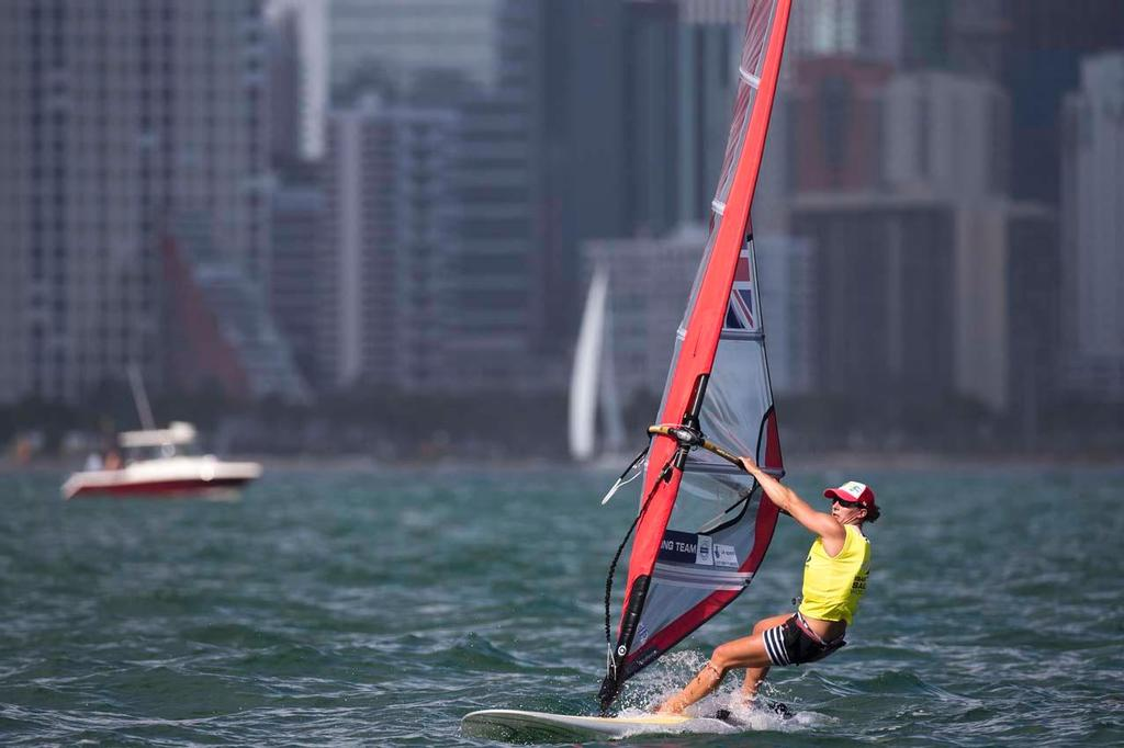 Bryony Shaw, RSX - ISAF Sailing World Cup Miami 2014 © Richard Langdon /Ocean Images http://www.oceanimages.co.uk