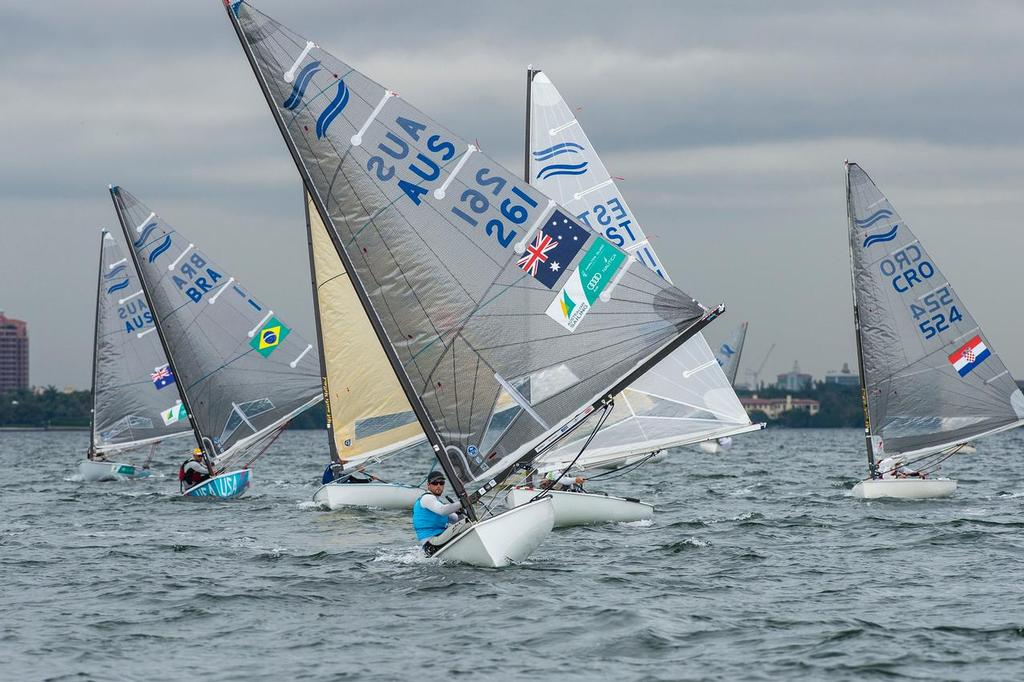 Australian Oliver Tweddell leads Finn fleet in Miami © Walter Cooper /US Sailing http://ussailing.org/