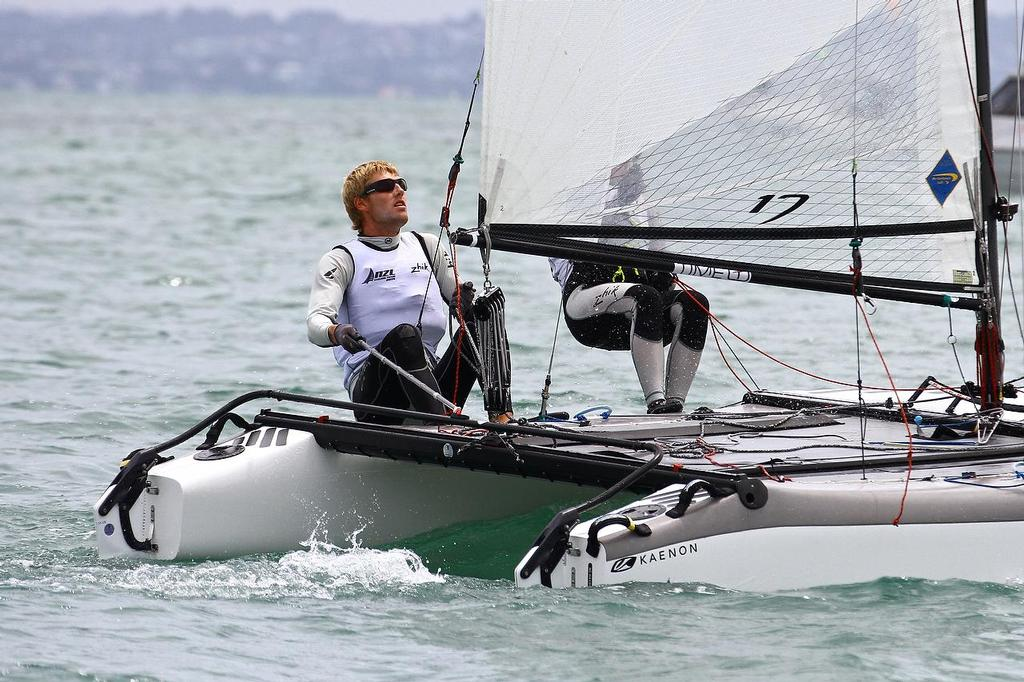 Oceanbridge Sail Auckland 2014 - February 4, 2014 - Nacra 17 - Thomas Saunders takes over the helm © Richard Gladwell www.photosport.co.nz