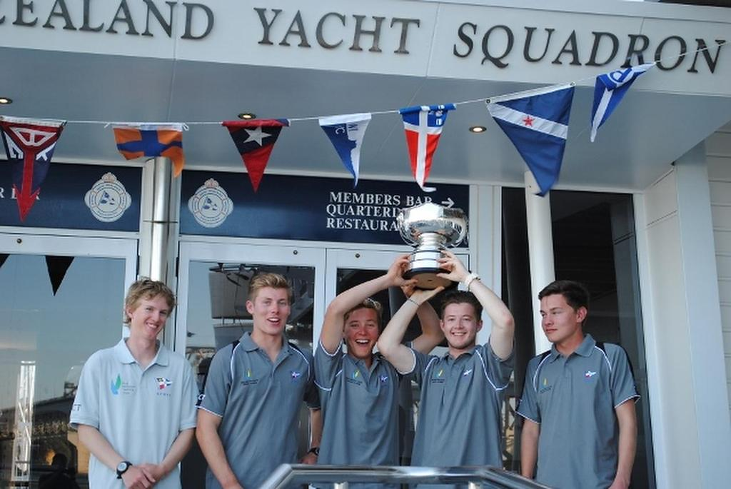 Winning Gautrey crew - 2014 Nesspresso Youth International Match Racing Championships © RNZYS Media