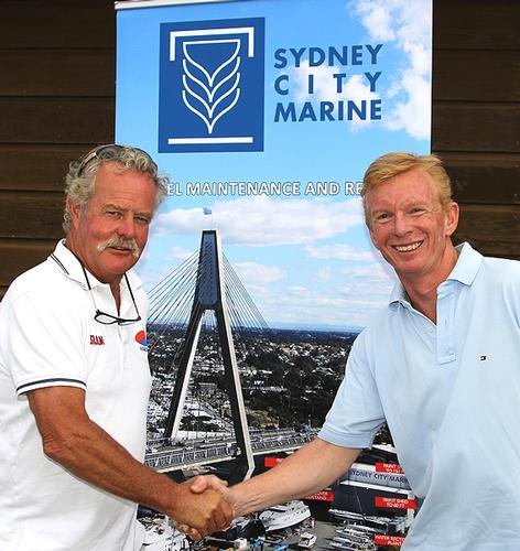 John Winning (left) and John Hickey at the Sydney City Marine Announcement - JJ Giltinan 18ft Skiff Championship 2014  © Australian 18 Footers League http://www.18footers.com.au