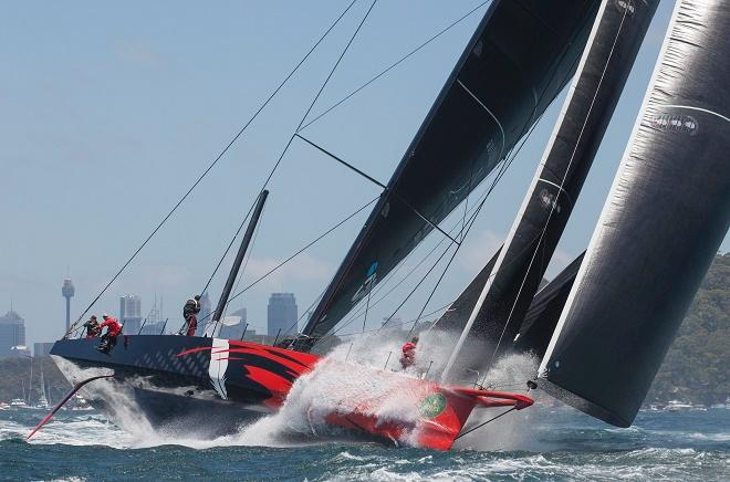 Comanche - showing the weaponry that might be on the AC75 - twin rudders, bowsprit, massive gennaker, daggerboards, canting keel. In this mode she set the record from the Sydney Hobart start to Mark 1. ©  Rolex/Daniel Forster http://www.regattanews.com