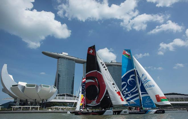 The Extreme Sailing Series 2014. Act 1. Singapore. Day 3 of racing.  © Lloyd Images
