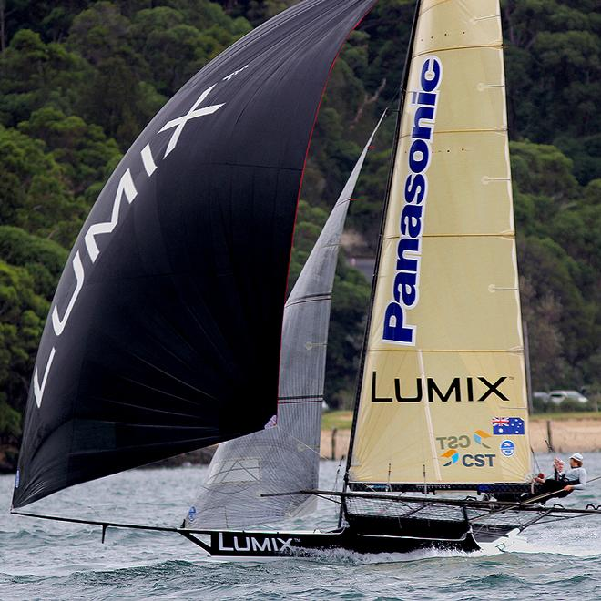 Lumix was the early leader of  first race - JJ Giltinan Trophy, 2014 - Day 1 © Frank Quealey /Australian 18 Footers League http://www.18footers.com.au