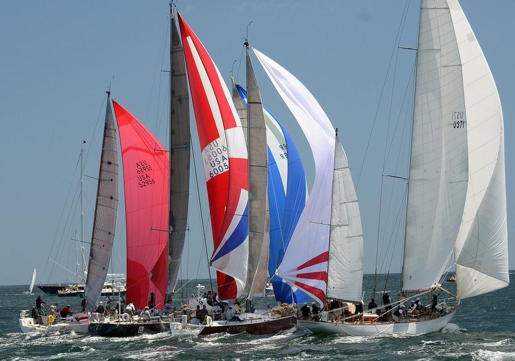 Black Watch US71 (R), the 1938 restored classic wooden yawl and a class winner in 2012 now under the command of John Melvin, will return for 2014. Here she is as the 48th Newport Bermuda Race got underway with the first spinnaker start since 2004. There were 165 boats in 17 classes and 6 divisions. - 49th Newport Bermuda Race 2014 © Talbot Wilson