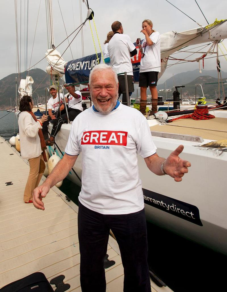 CLIPPER pitstop in Hong Kong. Sir Robin Knox-Johnston &rsquo;flies the flag&rsquo;, so to speak.  <br />  &copy; Guy Nowell http://www.guynowell.com