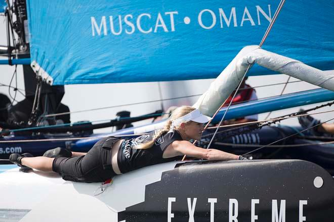 The Wave, Muscat  in action on day 3 of Act 2 in the 2014 Extreme Sailing Series © Lloyd Images/Extreme Sailing Series