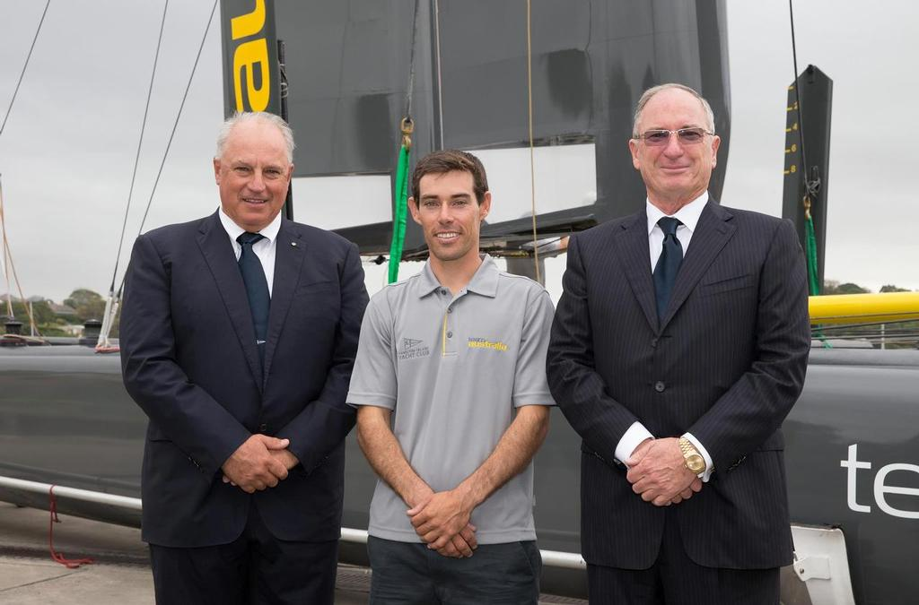 Iain Murray, Matt Belcher (skipper) and Sandy Oatley - Team Australia launch  ©  Andrea Francolini Photography http://www.afrancolini.com/
