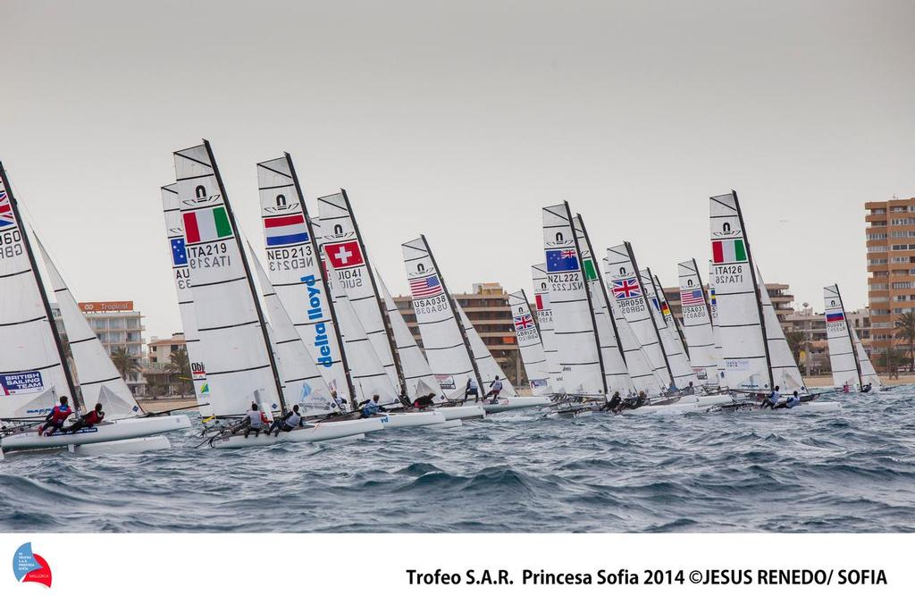 Nacra 17 start on Day 3 of the ISAF Sailing World Cup Palma ©  Trofeo S.A.R. Princesa Sofia / Jesus Renedo http://www.trofeoprincesasofia.org/