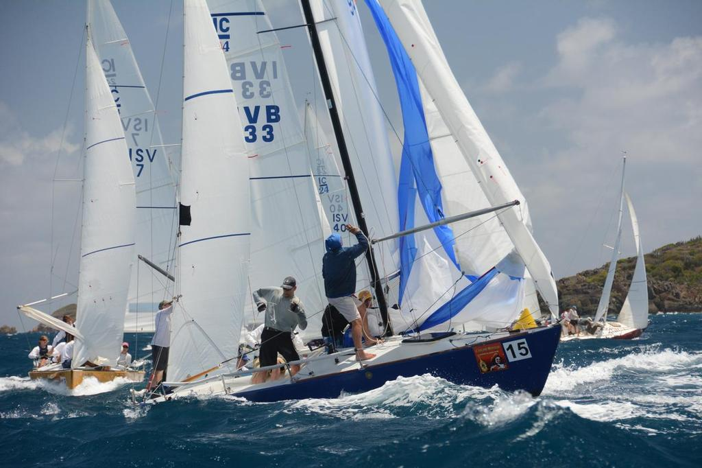 Tight mark roundings are the rule rather than the exception in the IC-24 Class on Day Two. Credit: Dean Barnes - St. Thomas International Regatta - Day 2 - To Accompany Bob Fisher's Report © Dean Barnes