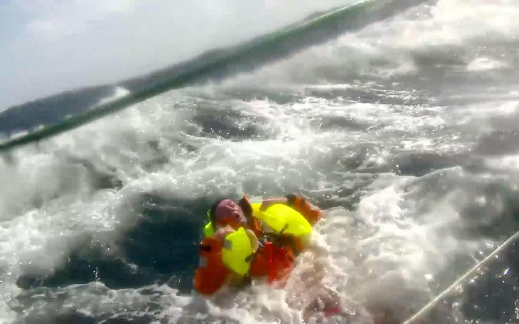 Andrew Taylor in the ocean prior to being rescued © Clipper Ventures