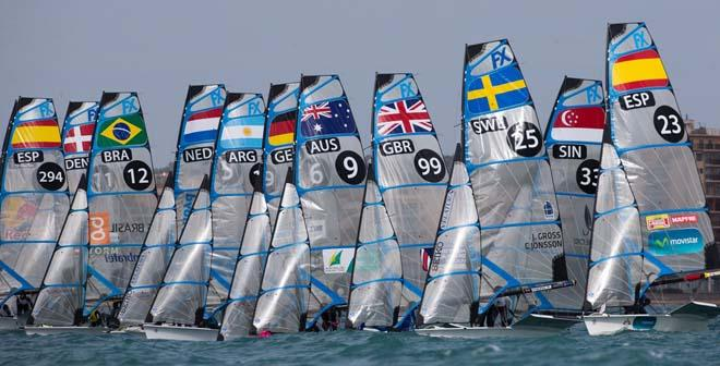 2014 ISAF Sailing World Cup Mallorca, day 5 - 49erFX fleet © Ocean Images