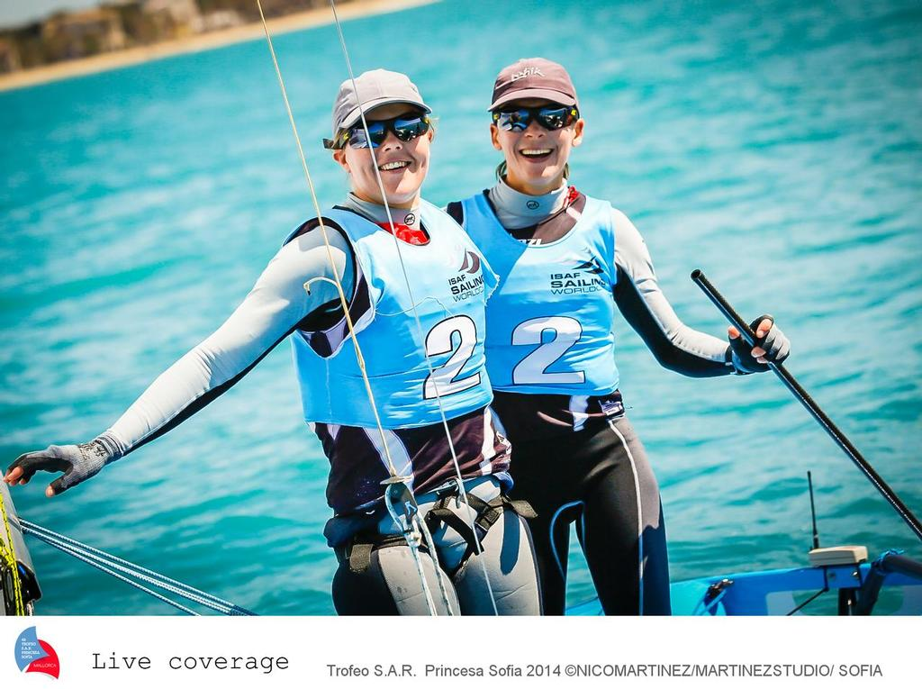 2013 World Champions, Jo Aleh and Polly Powrie (NZL)  celebrate their in the Womens 470 class at the 2014 ISAF Sailing World Cup Palma ©  Martinez Studio / Sofia http://www.trofeoprincesasofia.org/