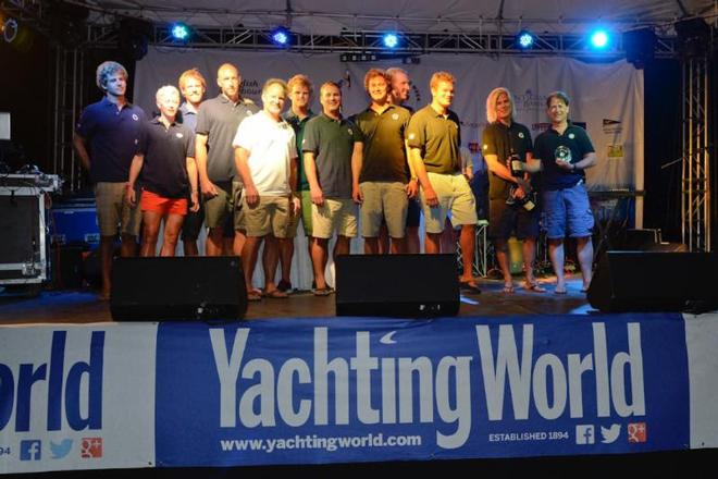 Karl Funks Kernan 47, True collect the spoils for winning the Yachting World Round Antigua Race © Ted Martin