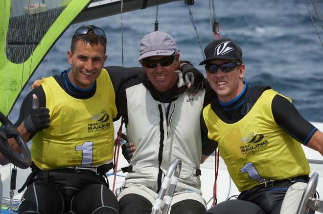 Pete Burling and Blair Tuke celebrate - 2014 ISAF Sailing World Cup Hyeres © Franck Socha