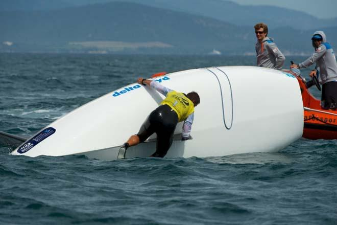 Pieter-Jan Postama on the wrong side of the boat, Finn medal race - 2014 ISAF Sailing World Cup Hyeres © Franck Socha