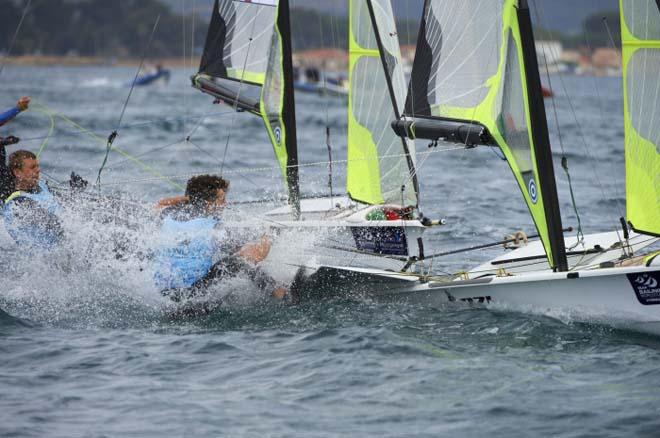 Seaton and Mcgovern, 49er medal race - 2014 ISAF Sailing World Cup Hyeres © Franck Socha