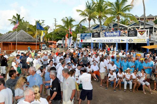A great atmosphere after racing on the lawn of Antigua Yacht Club © Ted Martin