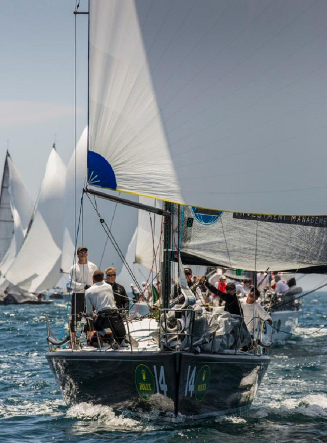 Alex Roepers' Plenty (bow 14) leads on the downwind leg - Rolex Farr 40 North American Championship 2014  ©  Rolex/Daniel Forster http://www.regattanews.com