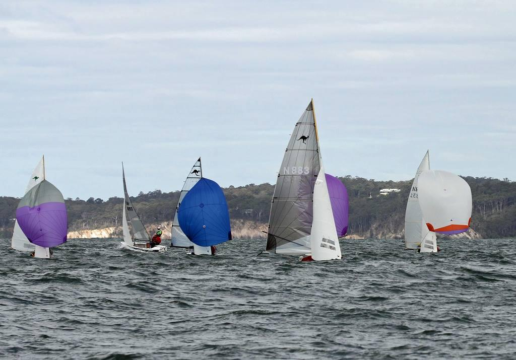 Smoke leading the pack at the bottom mark - NSW Sharpie State Titles Round 3 © Robert Owe-Young