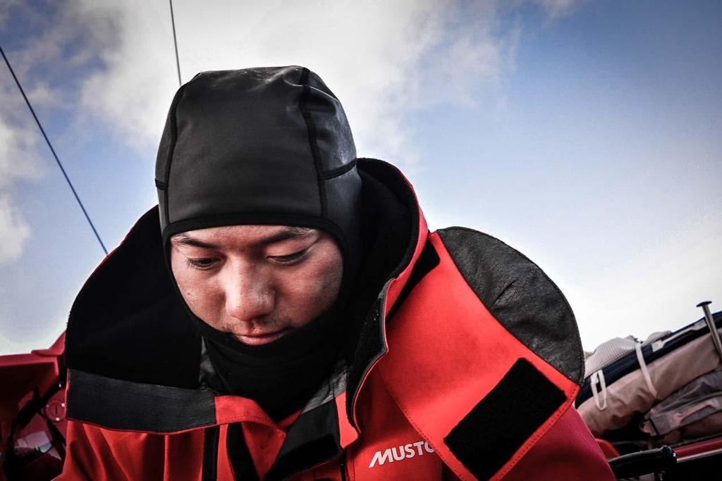 Chinese sailor Horace early morning onboard Dongfeng - looks forward to a busy day ahead. © Dongfeng Race Team