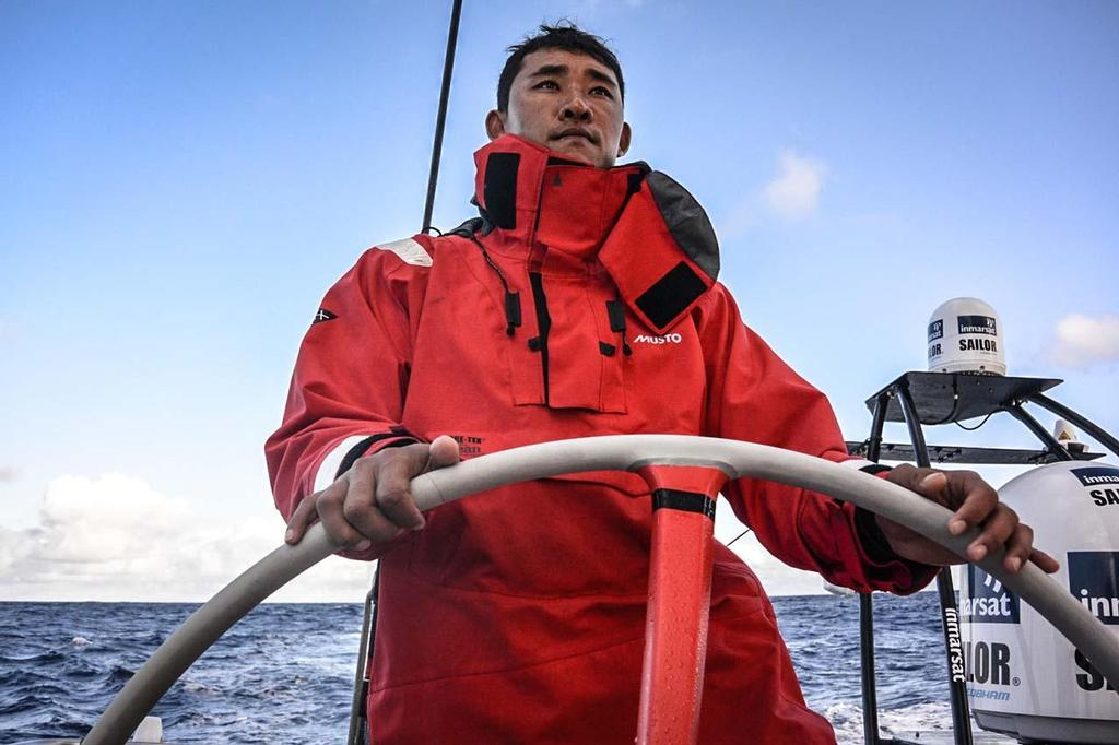 Kong steers Dongfeng with pride during the team's transatlantic crossing from Newport to Lorient © Dongfeng Race Team