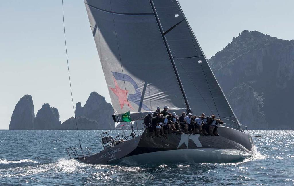 Robertissima won the 72ft Mini Maxi match race and leads the Maxis overall under IRC. ©  Rolex / Carlo Borlenghi http://www.carloborlenghi.net