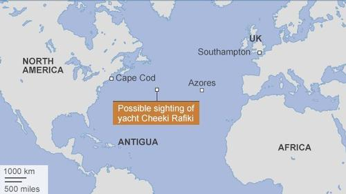 The area in which the search for the Cheeki Rafiki is believed to be focussed © SW