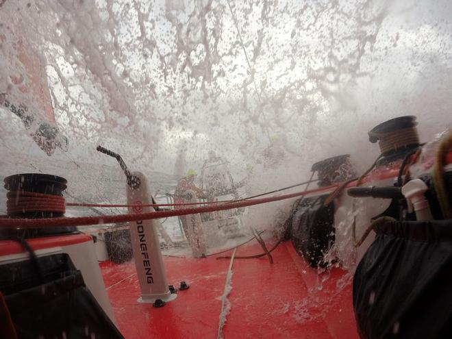 Extreme conditions onboard Dongfeng. © Dongfeng Race Team