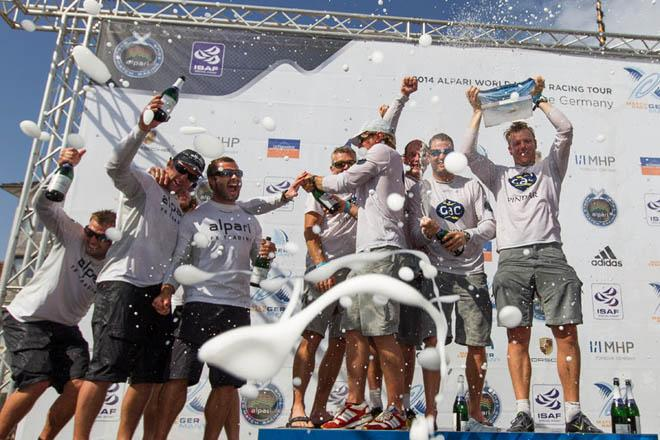 GAC Pindar celebrating on the podium after winning Match Race Germany 2014 ©  Ian Roman / WMRT
