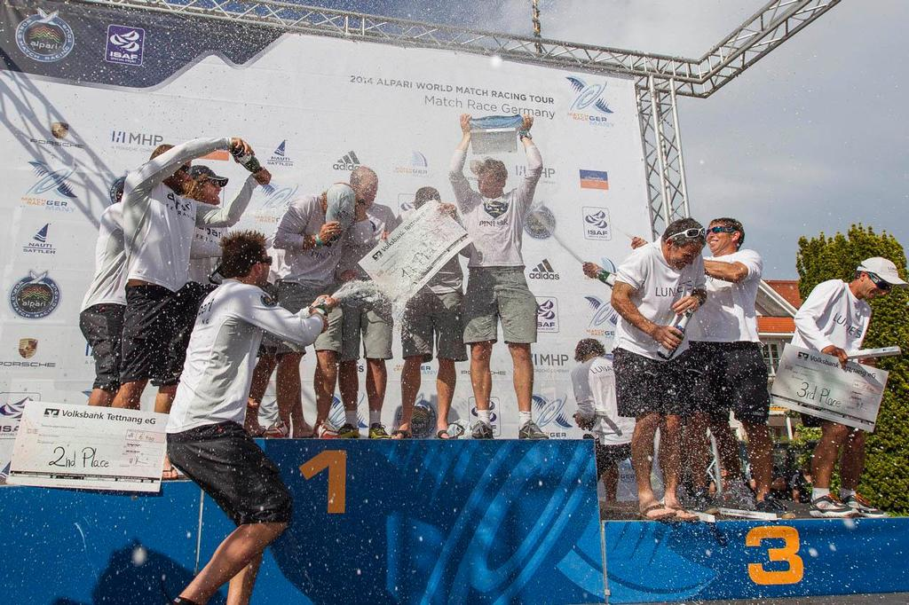 Teams celebrating during the Prize Giving Ceremony at Match Race Germany 2014. ©  Ian Roman / WMRT