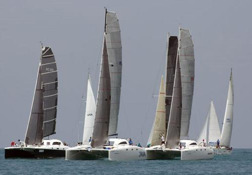 Some close racing action in the Multihull Racing class - Cape Panwa Hotel Phuket Race Week 2014. © MarineScene.asia