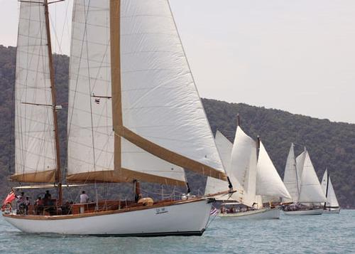 One of the sights of the Regatta, three classics together on the startline - Cape Panwa Hotel Phuket Race Week 2014. © MarineScene.asia