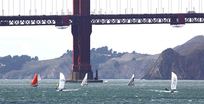 The leaders round the weather mark on Day 1 of the 18' Skiff International Regatta © Rich Roberts