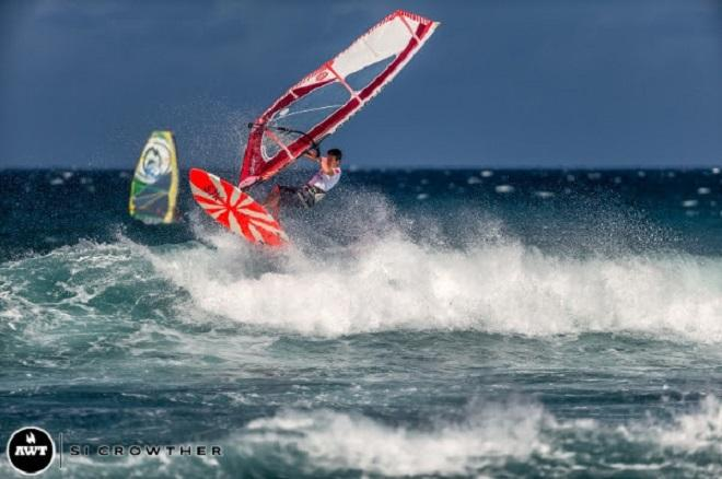 Jeff Henderson who was just beaten by HSM tester Kieran Devanney! - Amateur bracket of the AWT Severne Starboard Aloha Classic 2014 © Si Crowther / AWT http://americanwindsurfingtour.com/