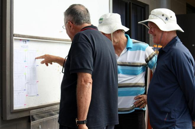 Cruising Division one team Witchy Woman of skipper Ian Griffiths and crew Glenn Arundel and Roger Barnet, checking out the newly posted Day 1 handicaps - Vision Surveys 25th Airlie Beach Race Week Regatta 2014  © Tracey Johnstone