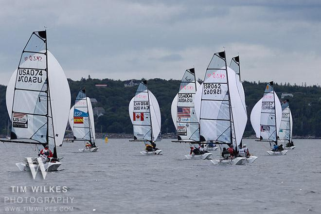 SKUDS (USA, etc.) with spinnakers flying - 2014 IFDS World Championship © Tim Wilkes