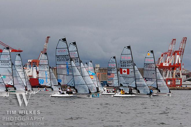 Sonars with dark sky - 2014 IFDS World Championship © Tim Wilkes