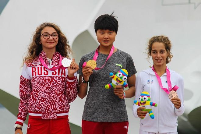 Left to right - Mariam Sekhposyan, Linli Wu, and Lucie Pianazza - Nanjing 2014 Youth Olympic Games © ISAF