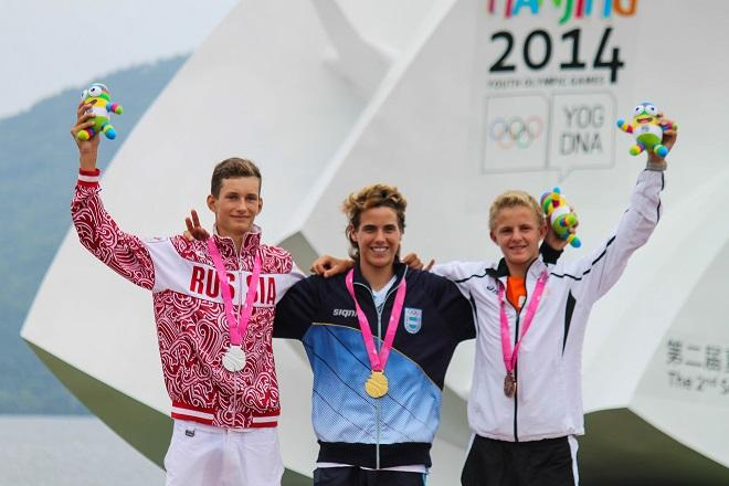 Left to right - Maxim Tokarev, Francisco Saubidet Birkner, and Lars van Someren - Nanjing 2014 Youth Olympic Games © ISAF