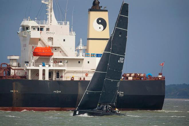 A busy Solent as Varuna comes up to the finish in Cowes. © Patrick Eden/RORC